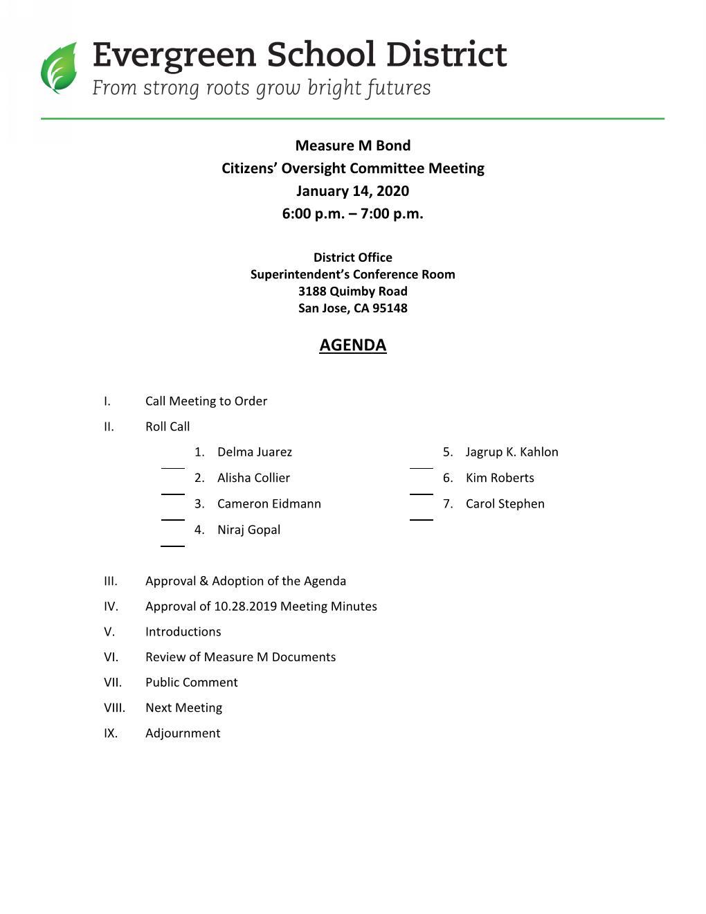 Agenda/Meeting Minutes 1/14/2020