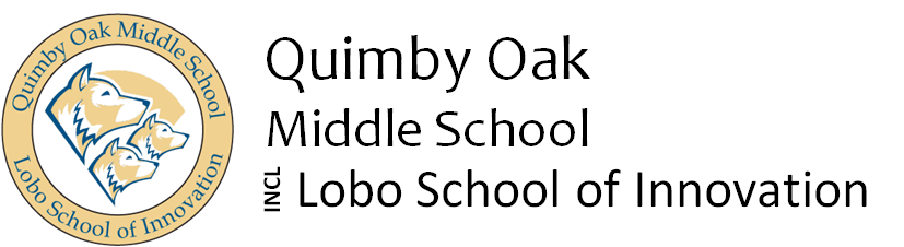 Quimby Oak Middle School Logo - go home page