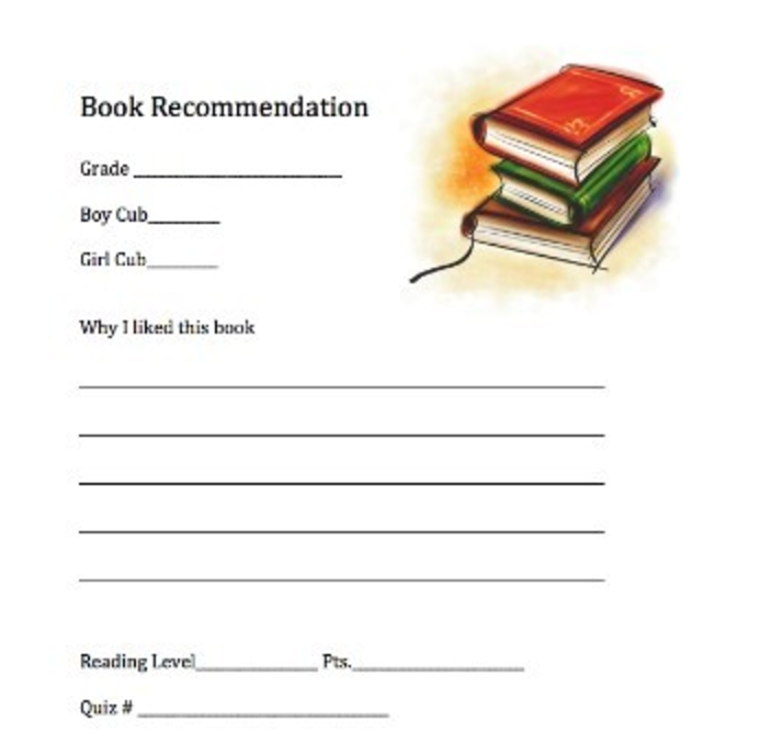 Mini book recommendation form
