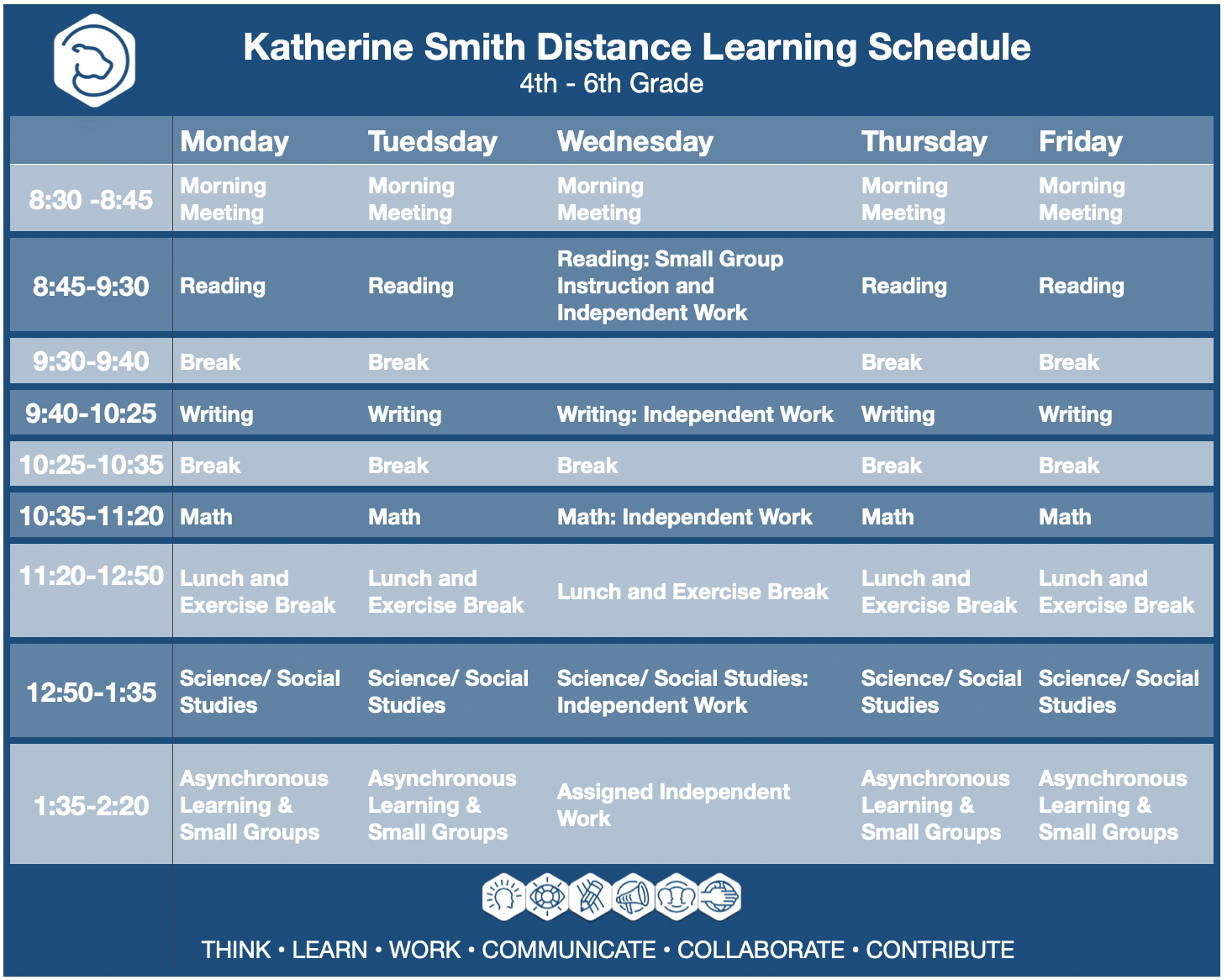 Distance Learning Schedule Grades 4-6