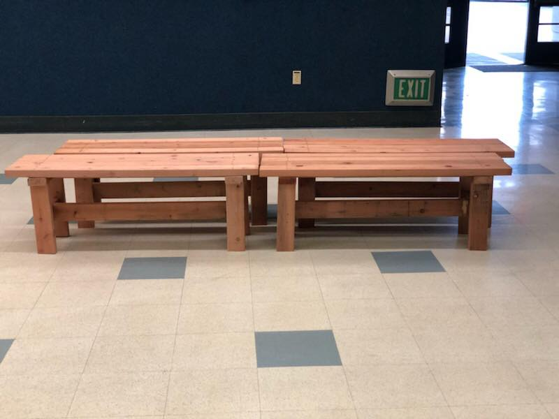 4 wooden benches made by the boy scouts