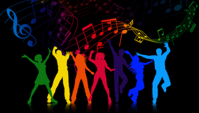 color silhouettes, dance, music notes