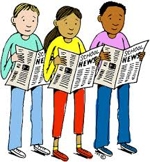 Three students reading school newspaper