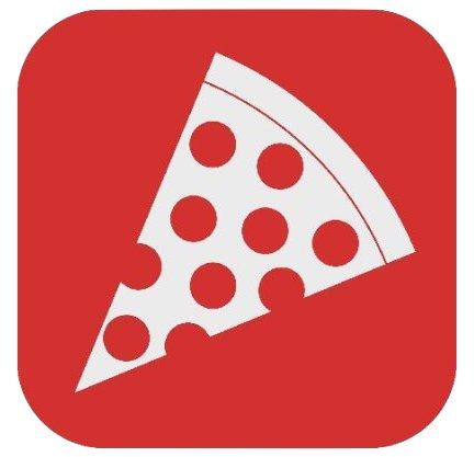 pizza slice graphic, red white