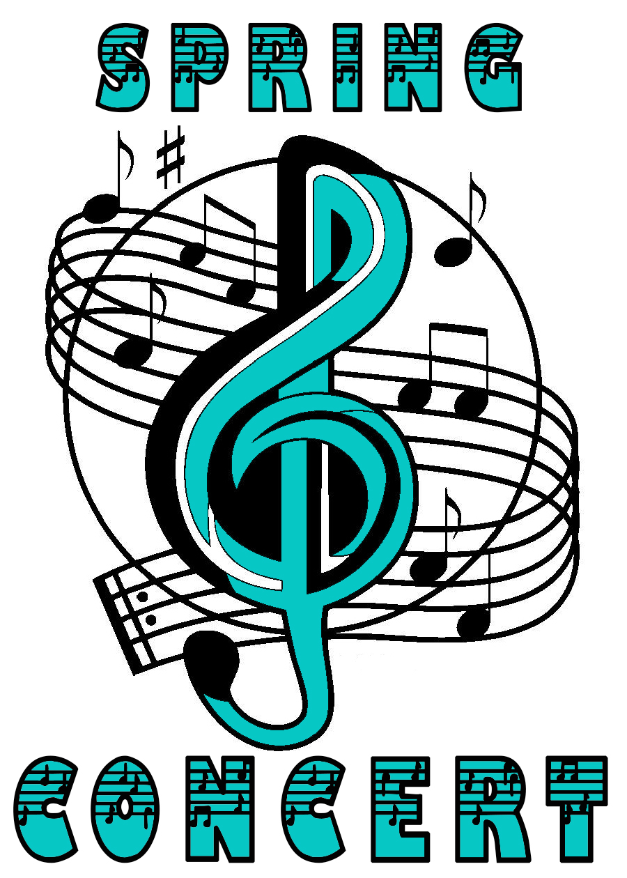 Spring Concert, Treble Clef, Musical Notes, Teal